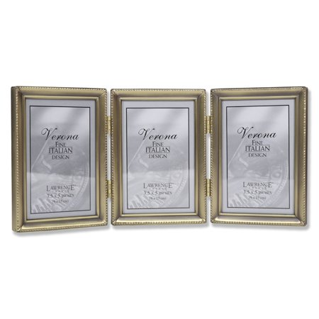 Antique Gold Bead 3.5x5 Hinged Triple Picture Frame