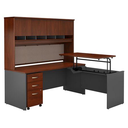Graphite Gray Series - SRC124HCSU Bush Business Furniture Hansen Cherry / Graphite Gray Series C 72W x 30D 3 Position Sit to Stand L Shaped Desk with Hutch and Mobile File Cabinet
