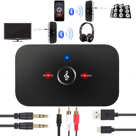 ESYNIC Wireless Bluetooth Transmitter Receiver Kit 2 in 1 Wireless Stereo Audio Adapter Car Kit A2DP AUX Stereo Audio Adapter with 3.5mm Stereo Audio Port for Headset TV PC Phone