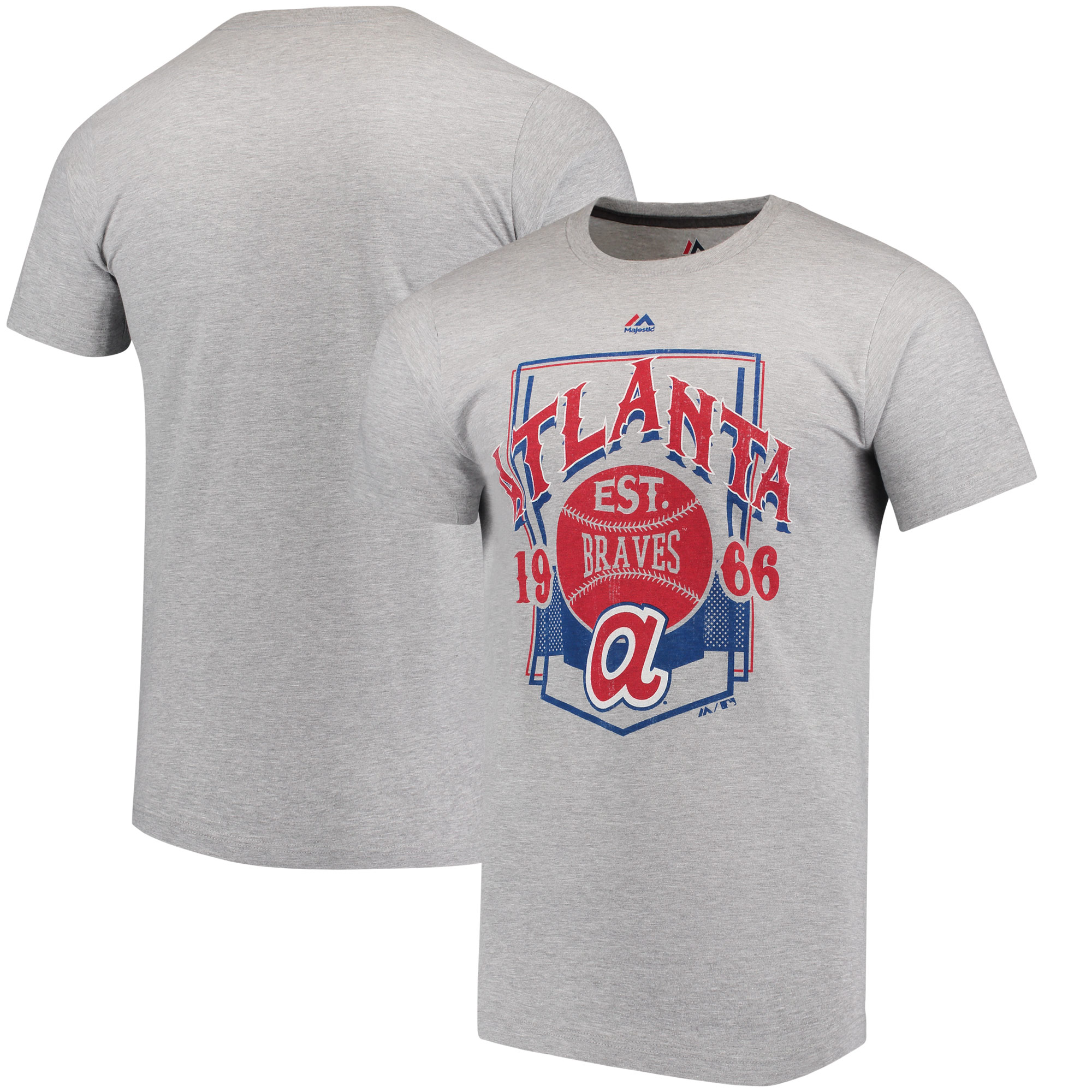 Atlanta Braves Majestic Cooperstown Collection Vintage Style T-Shirt - Gray