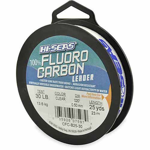American Fishing Wire Hi-Seas Fluorocarbon Leader, Clear, 25 yds