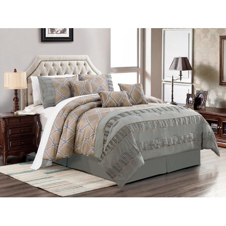 7-Pc Frieda Jacquard Trellis Pleated Ruffled Stripe Satin Comforter Set Taupe Gray Pewter Silver Queen