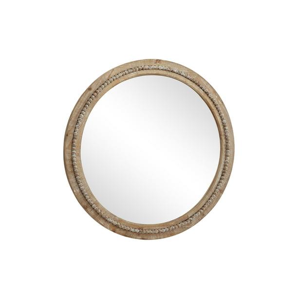 Decmode 36 Large Round Natural Wood Wall Mirror W Decorative Wood Beads Walmart Com Walmart Com