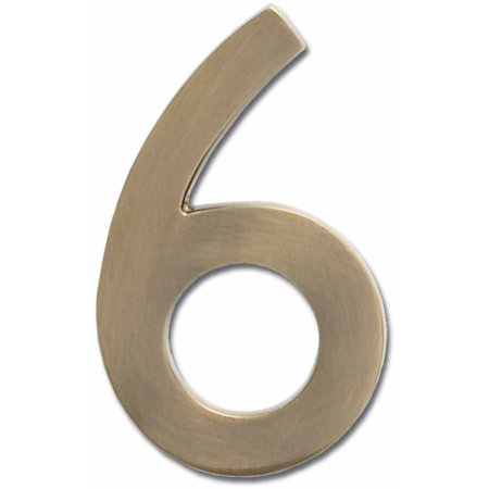 """Architectural Mailboxes 4"""" Brass Floating House Number, Satin Nickel, 6"""