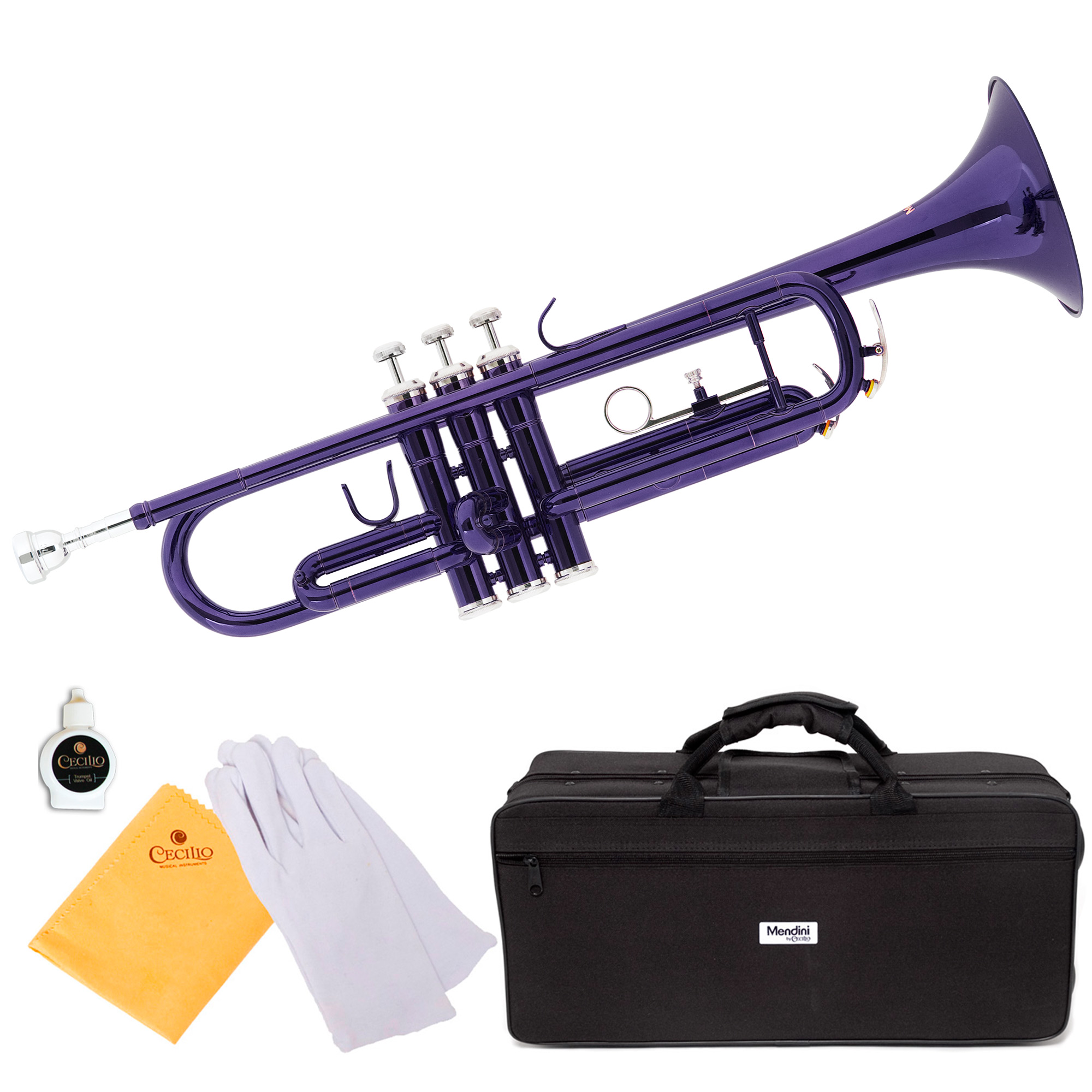 Mendini by Cecilio MTT-PL Purple Lacquer Brass Bb Trumpet with Durable Deluxe Case and 1 Year Warranty