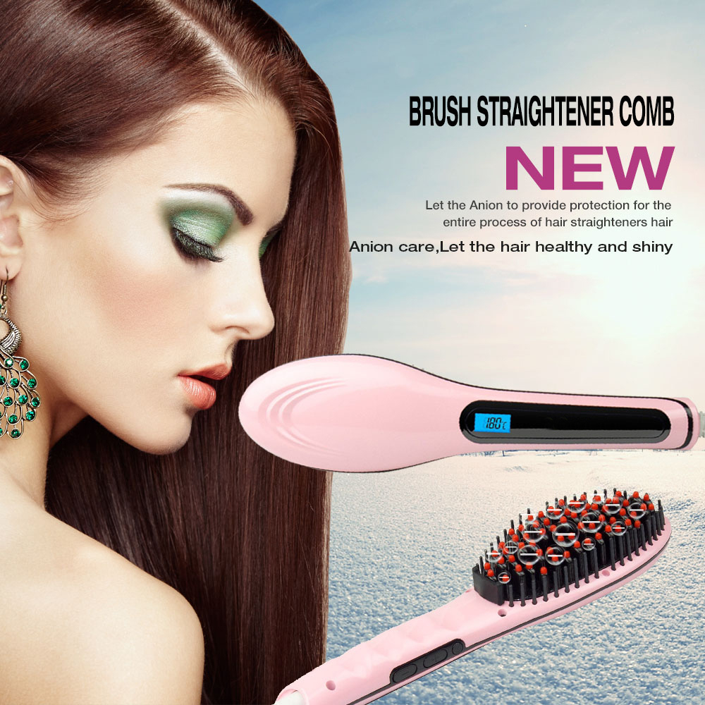 CoastaCloud Pink Brush Hair Straightener, Instant Magic Silky Straight Hair Styling, Anion Hair Care, Anti Scald, Zero Damage, Massage Straightening Irons, Detangling Hair Brush