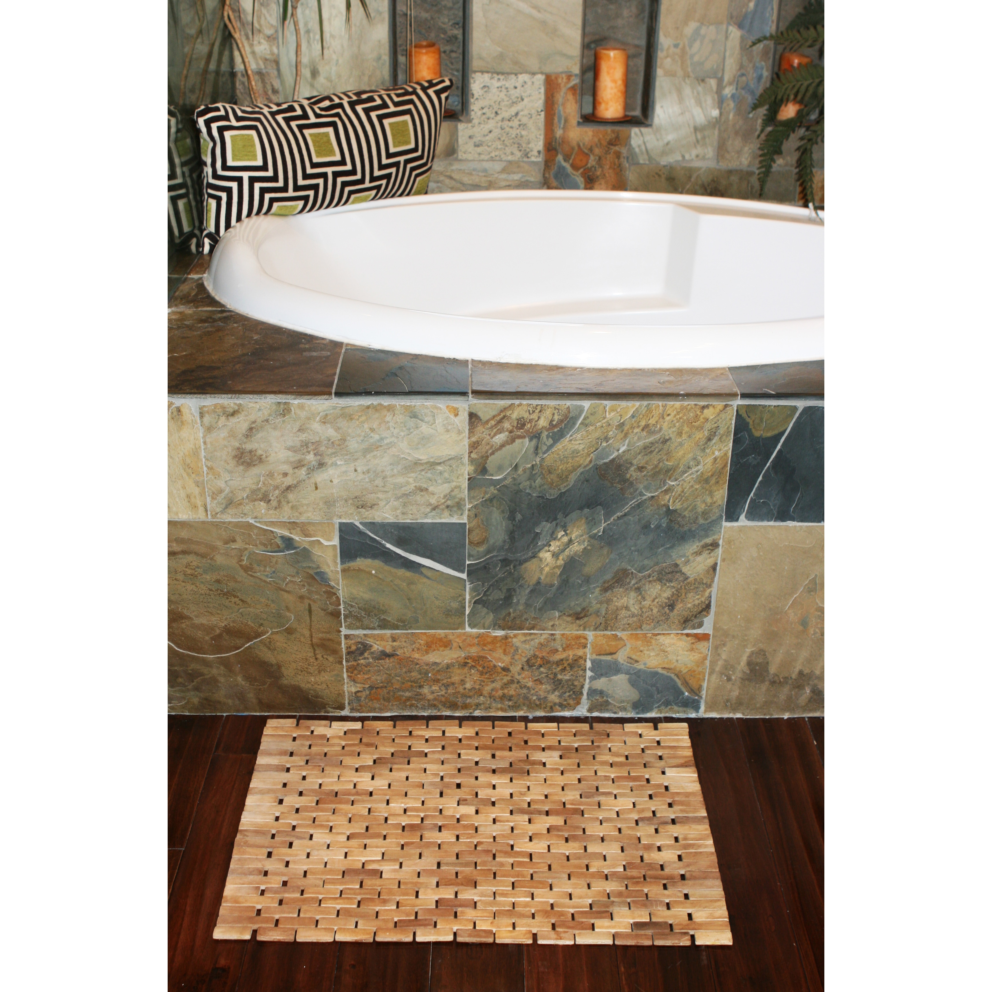 Hip O Modern Living Teak Indoor Outdoor Bath And Shower Mat 19 5 X 27 5 Walmart Com Walmart Com