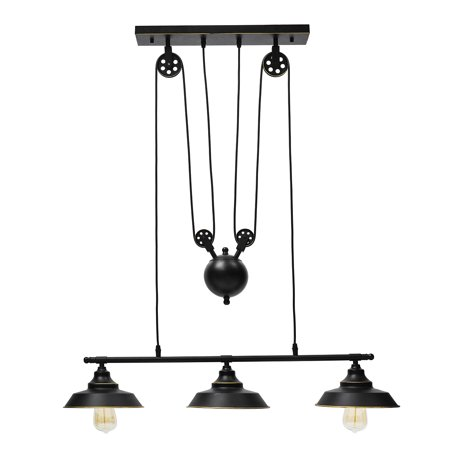 Pulley Pendant Light, KingSo Three-Light Kitchen Island Light Adjustable Industrial Vintage Chandelier Farmhouse Vintage Ceiling Lights Fixture for Kitchen Restaurant Bar Home Deco ()
