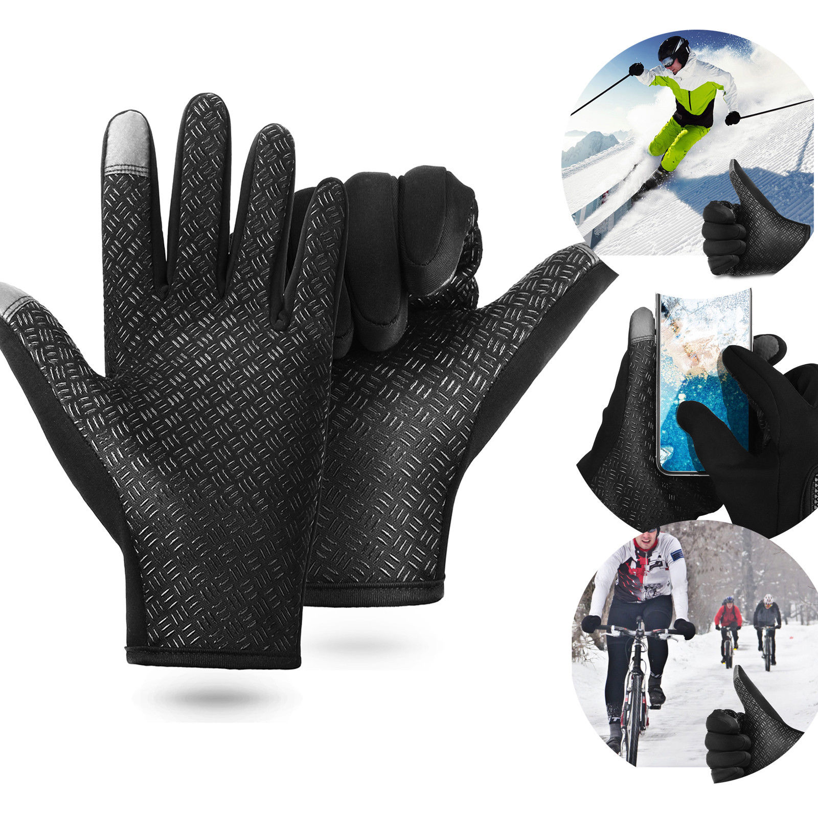 2-Tip Women Men Winter Windproof Waterproof Warm Touch Screen Gloves Outdoor Sports Cycling Driving - (Black,XL,1 Pair)