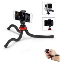 FotoPro UFO 2 Flexible Tripod with Smartphone and GoPro Adapter, 28.22 oz Capacity, Black/Red