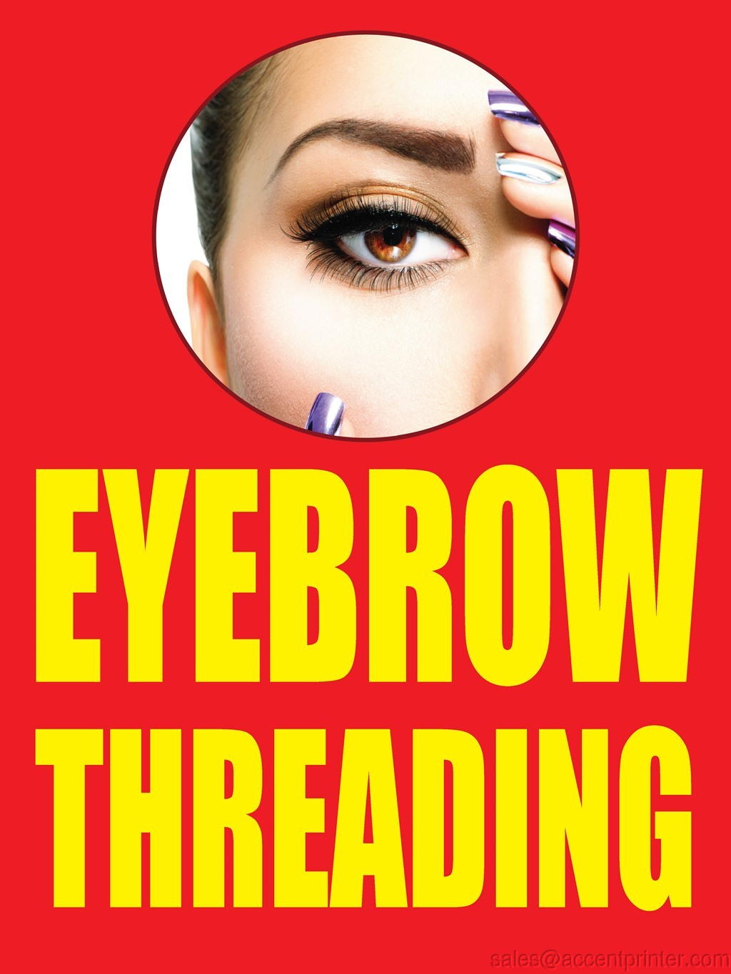Eyebrow Threading Storefront Window Display Sign 18w X 24h Full