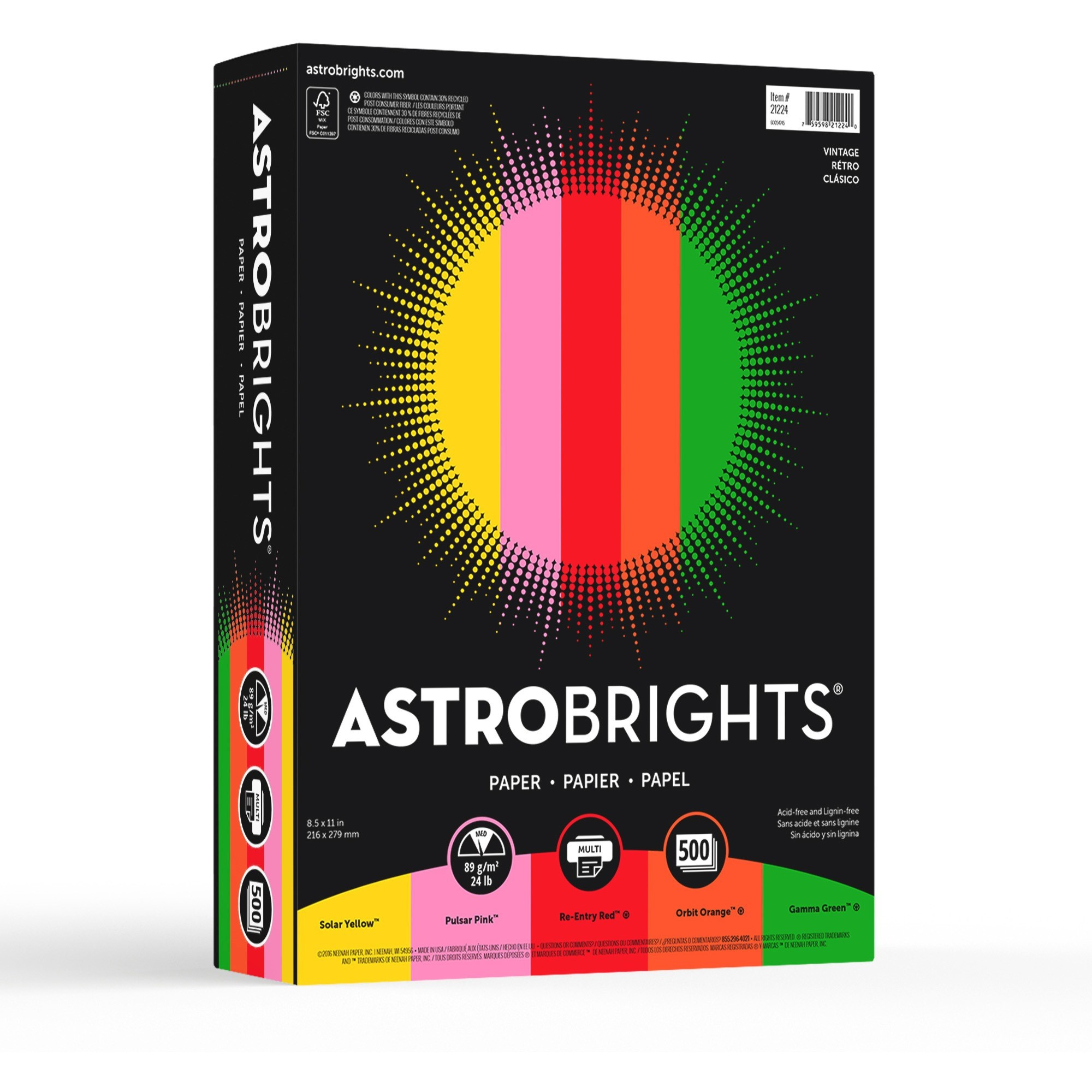 Wausau Paper Astrobrights Colored Paper, 24lb, 8-1/2 x 11, 500 Sheets/Ream