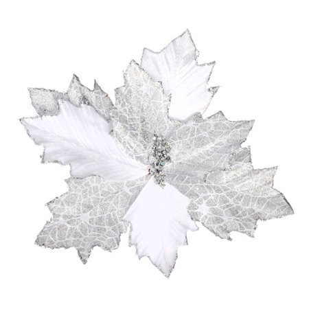 Darice Silver Glitter Poinsettia Pick Velvet 11 X 11.5 Inches