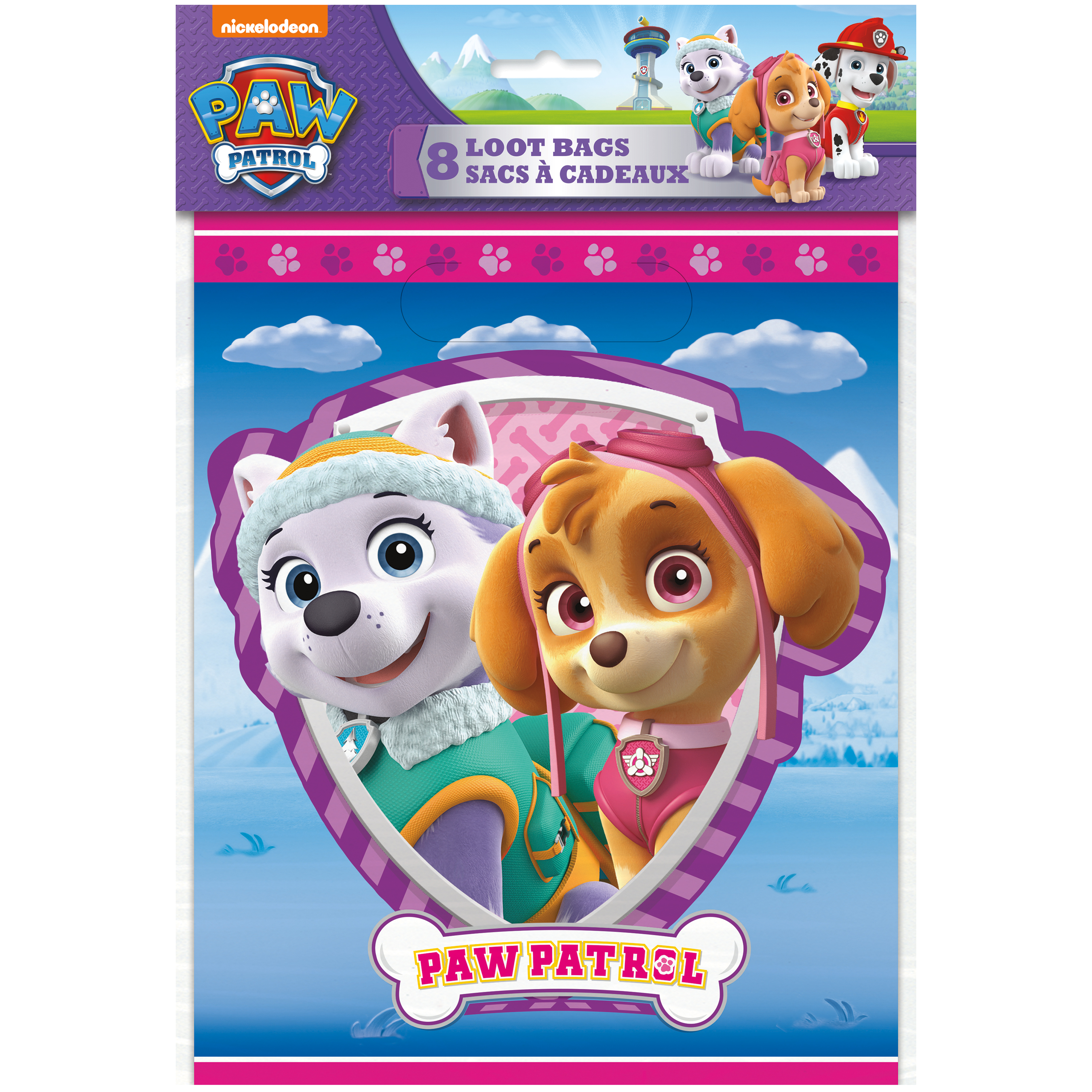 Paw Patrol Pink Skye Party Loot Bag Kits Sweets Favours Stickers Sheet