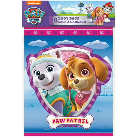 Plastic Skye PAW Patrol Goodie Bags, 8ct - Goodie Bags For Kids Birthday