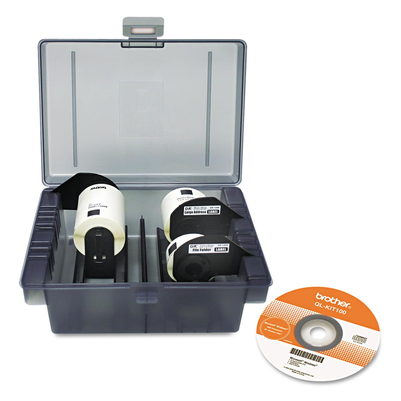 Brother QL Label Printer Get Inspired Starter Kit, 3 Rolls, Template CD, Storage Case -BRTQLKIT100