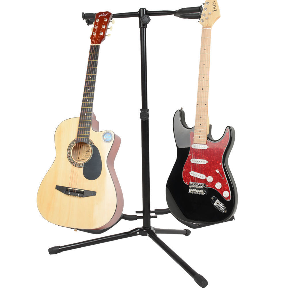 Ktaxon Professional Musician's Dual Double Acoustic Electric Guitar Bass Stand