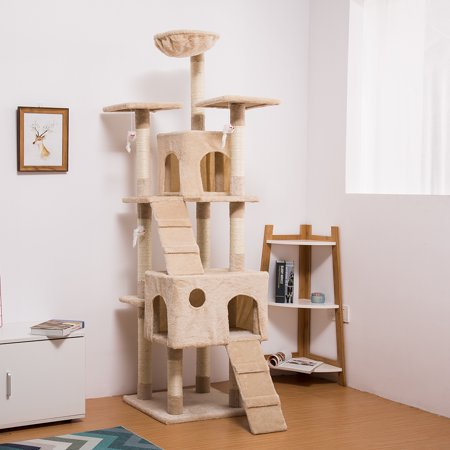LANGRIA 68-Inch Beige Cat Tree with Hammock Multi Level Tall Tower with 10 Scratching Posts 2 Condos and Tangling Interactive Cat Toys for Play Time Sleeping Climbing (Cat Tree For Multiple Cats)