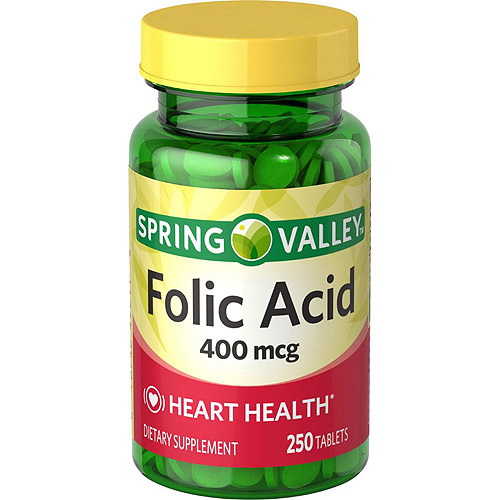 Spring Valley Folic Acid Dietary Supplement Tablets,  400 mcg, 250 Ct