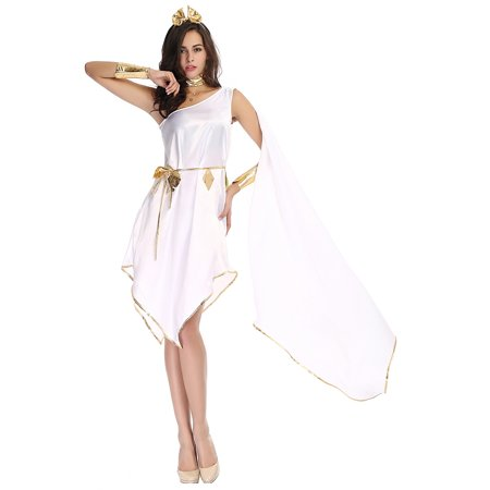 Roman Greek Goddess Costume (HDE Women's Goddess Halloween Costume Greek Roman Styled Flowing White Gown with Gold)