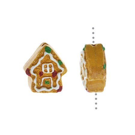Hand Painted Ceramic Bead, Tiny Gingerbread House 13x11mm, Multi