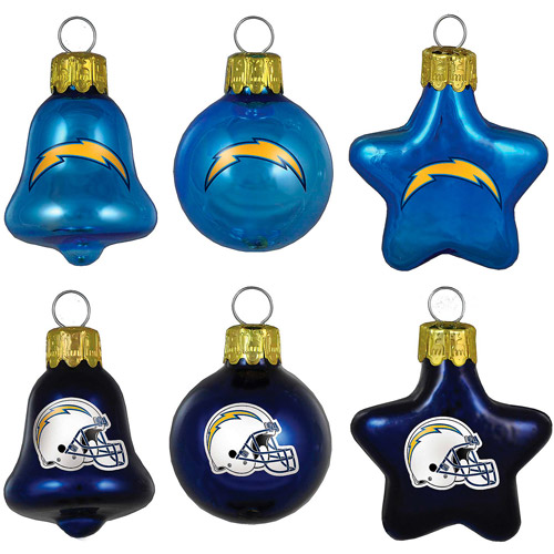 Topperscot NFL San Diego Chargers Ornament Set, Set of 6