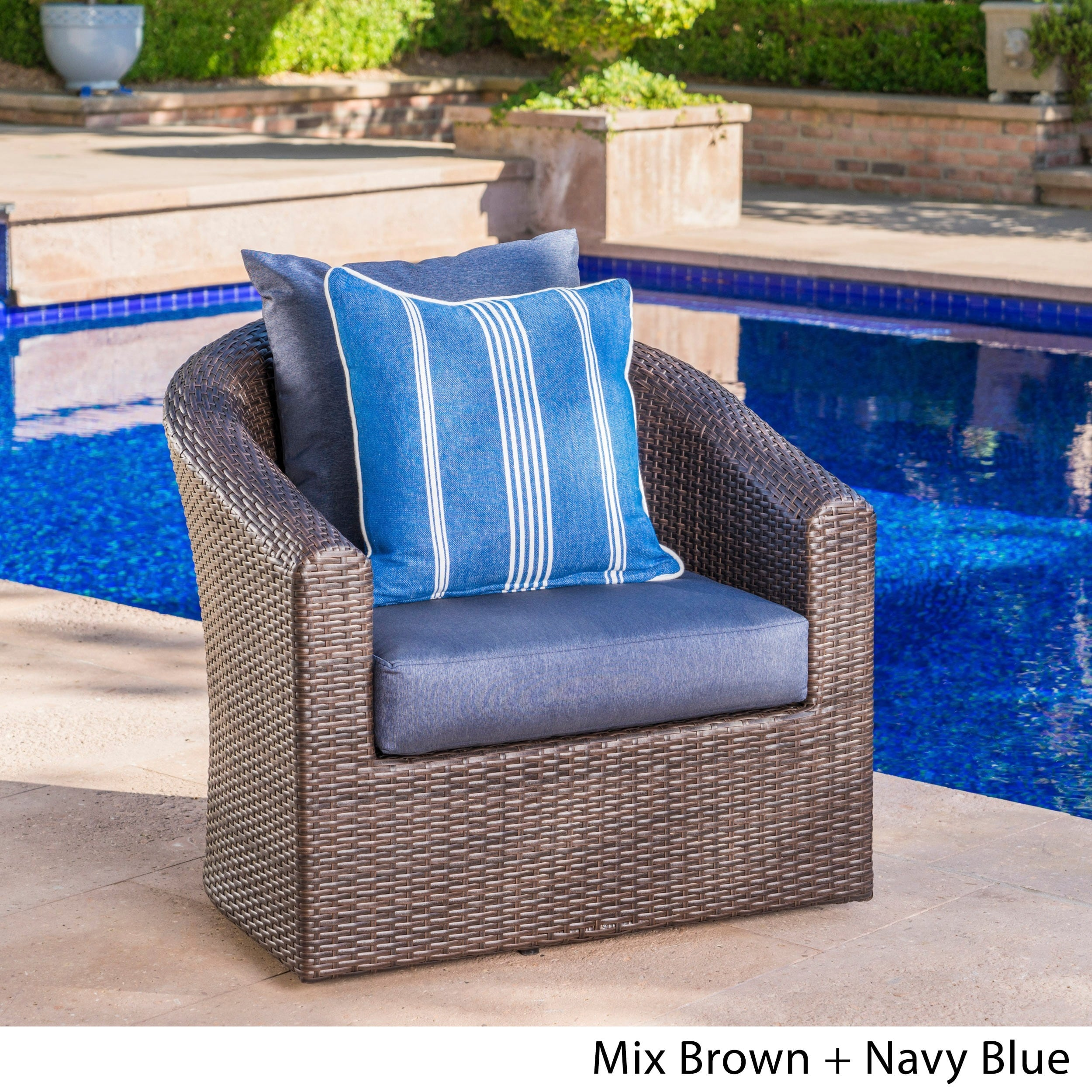 Christopher Knight Home Darius Outdoor Wicker Aluminum Swivel Club Chair with Cushion by