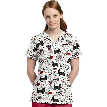 4f41b9b7893 White Cross - Allure By White Cross Women's V-Neck Dog Print Scrub Top -  Walmart.com