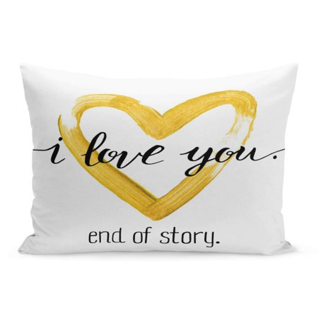 ECCOT Paint Hand Written Valentine Day I Love You End Pillowcase Pillow Cover Cushion Case 20x30 inch