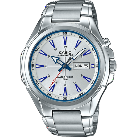- Men's Stainless Steel Watch, Silver Dial - MTPE200D-7A2V