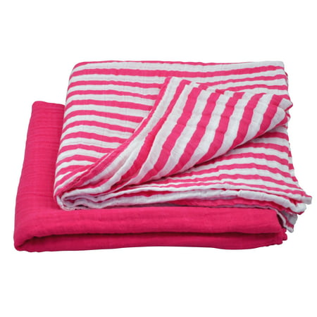 green sprouts Muslin Swaddle Blanket made from Organic Cotton-Hot Pink Set-44
