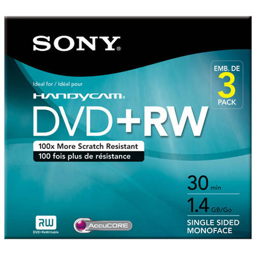Sony 3-Pack DVD+RW with Hangtab