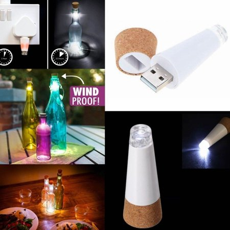 1PC LED Rechargeable USB Cork Shaped Night Light Wine Bottle Lamp For Party Decorate, White Light