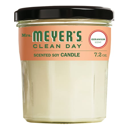 Mrs. Meyer's Clean Day Scented Soy Candle, Geranium, Large, 7.2 ounce