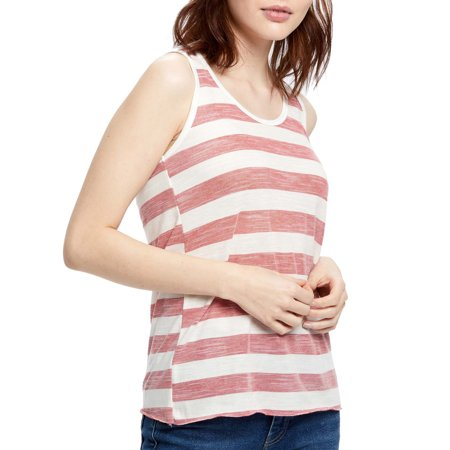 Striped Rib Knit Tanks - Juniors' Striped Slub Knit Racerback Tank