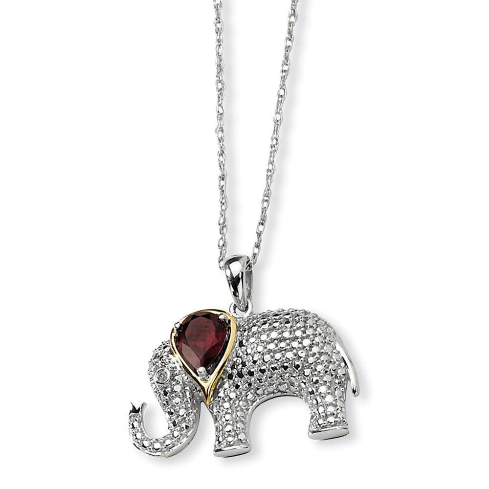 SS 0.905ct & 14K Yellow Gold 17in Garnet & Diamond Elephant Necklace