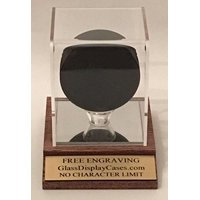 Hockey Puck Personalized Acrylic Display Case with Solid Oak Wood Mirror Base with Mahogany Finish and Custom Stand