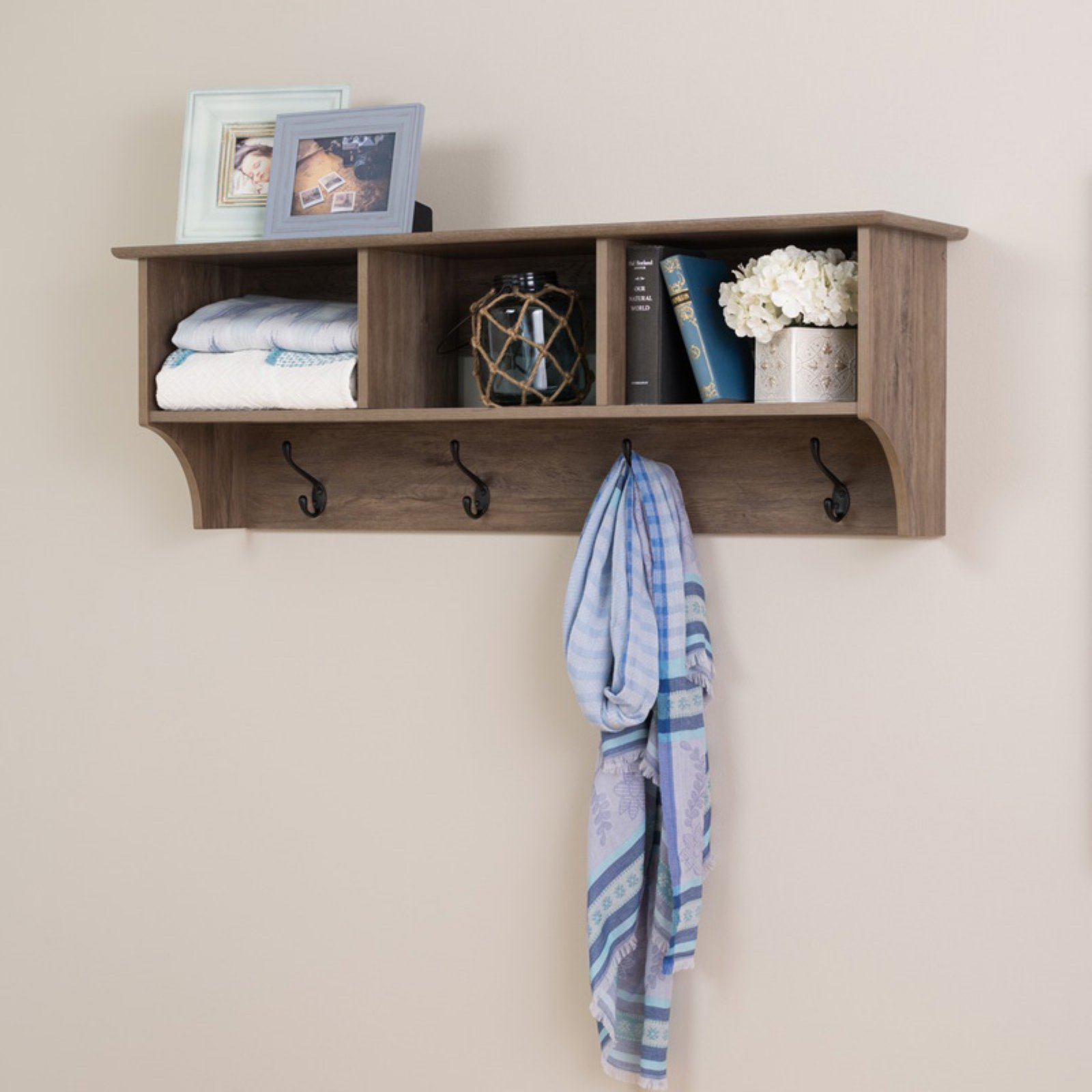"60"" Wide Hanging Entryway Shelf, Drifted Gray"
