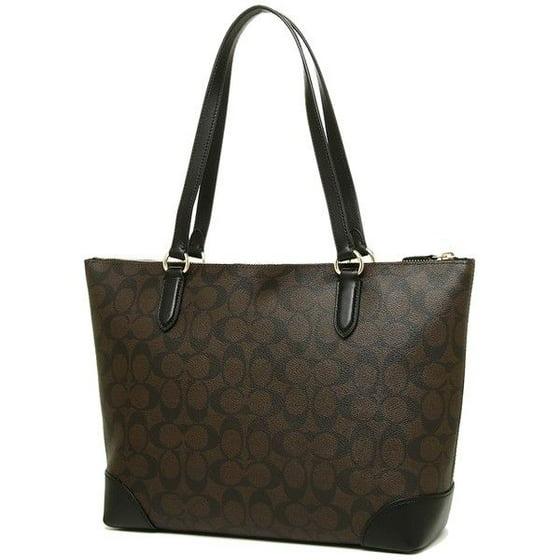 New Women S Coach F29208 Signature Brown Leather Zip Top Tote Bag Handbag