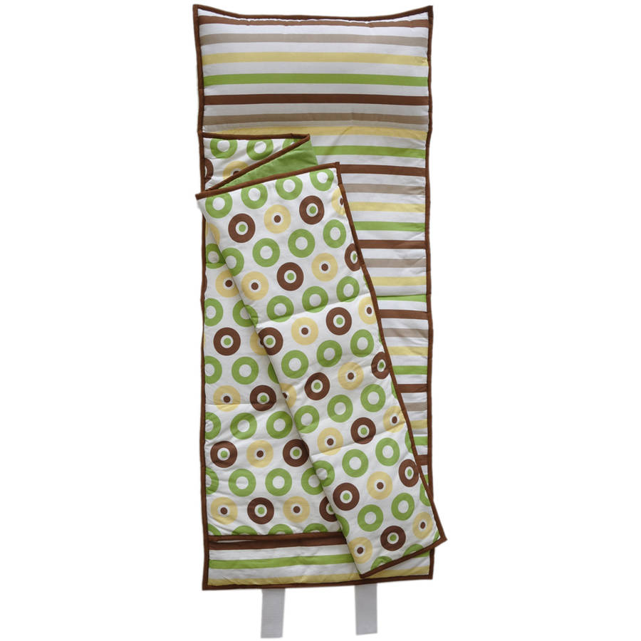 Bacati Mod Dots Stripes Toddler Nap Mat In Green Yellow