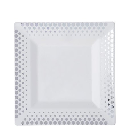 Plastic Catering Platters (BalsaCircle 10 pcs Disposable Plastic Square Plates with Dots for Wedding Reception Party Buffet Catering)