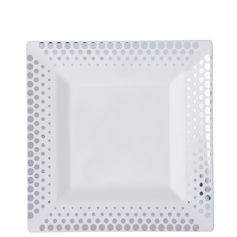 BalsaCircle 10 pcs Disposable Plastic Square Plates with Dots for Wedding Reception Party Buffet Catering Tableware