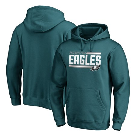 Philadelphia Eagles Fanatics Branded Iconic Collection Onside Stripe Pullover Hoodie - Midnight Green
