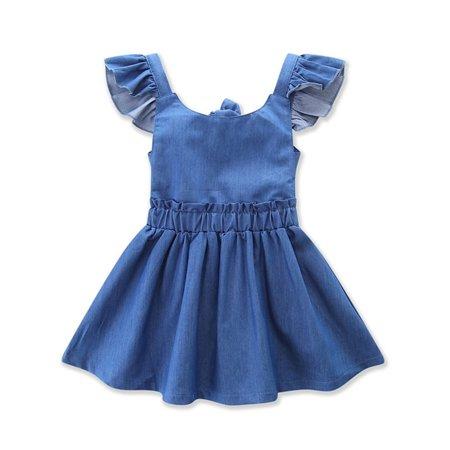 Girls Denim Dresses (StylesILove Baby Toddler Girl Contrasting Sleeve Backless Denim Sun Dress (110/2-3)