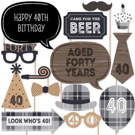 40th Birthday Milestone (40th Milestone Birthday - Photo Booth Props Kit - 20)