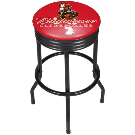 Image of Budweiser Black Ribbed Bar Stool - Clydesdale Red