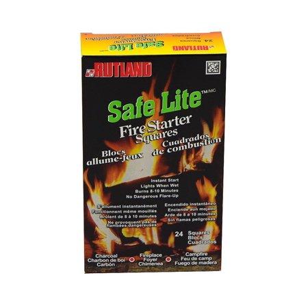 Safe Lite Fire Starter Squares, 24 squaresSafe Lite Fire Starter Squares are made of recycled wood chips and wax By Rutland - Lite Starter