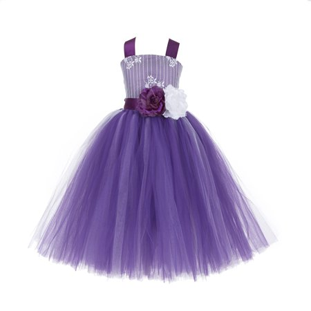 Ekidsbridal Formal Tutu Criss-Cross Back Tulle Lace Flower Girl Dress Bridesmaid Wedding Pageant Toddler Easter Holiday Spring Summer Communion Recital Birthday Baptism Ceremony Special Occasions - Dress For Halloween Wedding