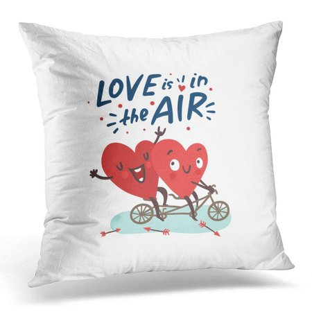 CMFUN Red Bicycle Couple Romantic Love Story Two Happy Hearts Biking Lettering is in The Air Valentine's Day Pillow Case Pillow Cover 18x18 inch
