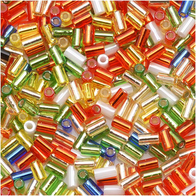 Toho Bugle Tube Beads Size #1 / 2x3mm Masquerade Mix 8 Grams